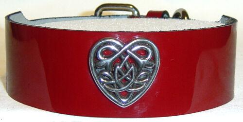 "1 1//2/"" Premium Leather Choker Necklace Celtic Heart Goth"