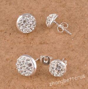 One-Pair-Austrian-Crystal-Rhinestone-Pave-Disco-Half-Ball-Stud-Silver-Earrings