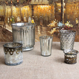 Shabby-Cottage-Chic-Mercury-Glass-Votive-Set-Silver