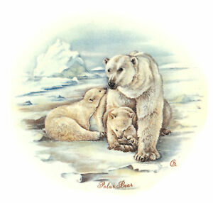 Ceramic-Decals-Polar-Bear-Animal-Mom-Cubs-Icy-Scene