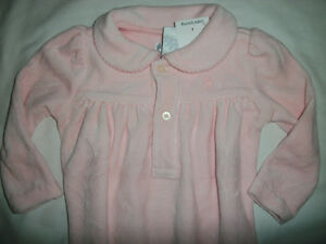40d7e1097 Image is loading NWT-Ralph-Lauren-Pink-Plush-Velour-Footie-Sleeper-