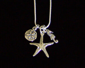 New-925-Sterling-Silver-Sealife-Charm-Necklace-20-034-or-30-034-Snake-Chain