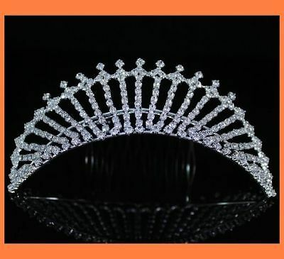 EXQUISITE CLEAR RHINESTONE TIARA WITH HAIR COMB CROWN BRIDAL WEDDING PROM T780