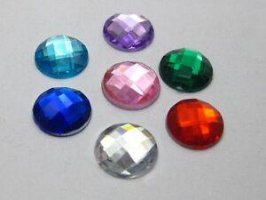 200-Mixed-Colour-Acrylic-Rhinestone-Flatback-Round-Beads-10mm-Flat-Back-Gems