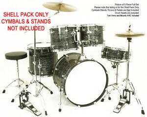 New-BLACK-OYSTER-PEARL-Shell-Pack-Drum-Set-5-Piece-Kit