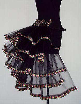 TARTAN Burlesque Tutu Skirt Bustle Black Belt Sexy Goth Steam punk