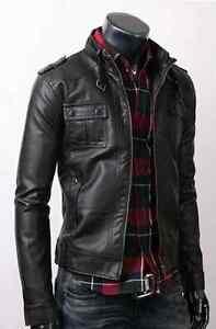 Fine-Quality-Strap-Pocket-Slim-Fit-Men-Leather-Jacket-Black