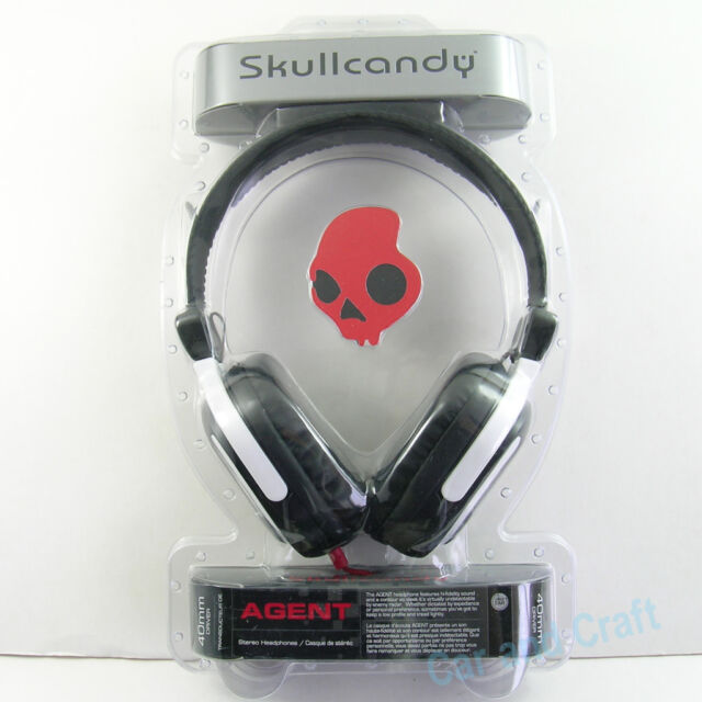 Genuine Skullcandy Agent Original Headphone Earphone Headset Black/Red 3.5mm New