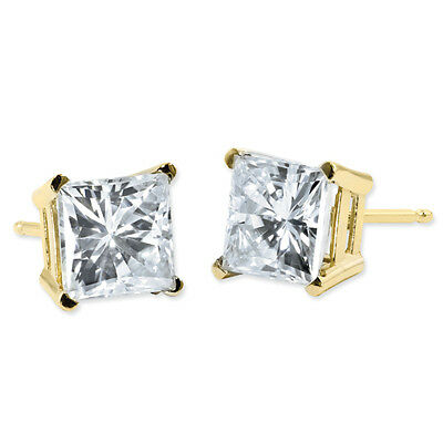 2 Ct Moissanite Stud Earrings Square Brilliant Princess Cut 14k Yellow Gold