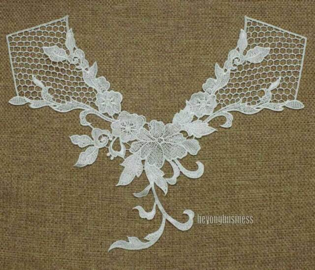1PC Venise Lace Polyester Off White Flower Neckline Applique Craft Sewing Trim