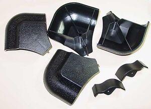 Set Of 4 Pool Table Black Plastic Miter Rail Cap Parts For