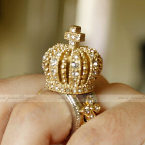 Royal-Crown-Cross-King-Queen-3D-Crystal-Gold-Silver-Tone-Chunky-Bling-SIZE-6