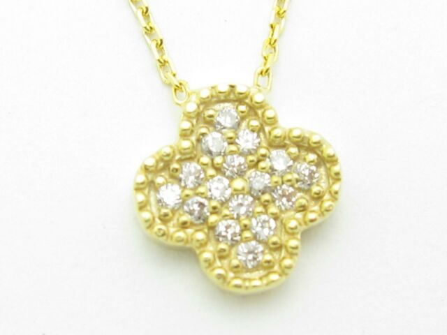 18KT YELLOW GOLD SILVER DIAMOND SET PAVE WHITE SAPPHIRE CLOVER DESIGN PENDANT