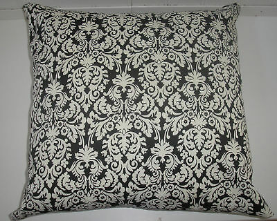 THROW PILLOW SHAM / COVER 18X18 BLACK AND WHITE DAMASK