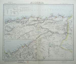 ALGERIA-Southern-Genuine-Antique-MAP-LETTS-1883