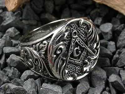 Sterling Silber 925,  Siegelring Freimaurer, Masonic, Biker