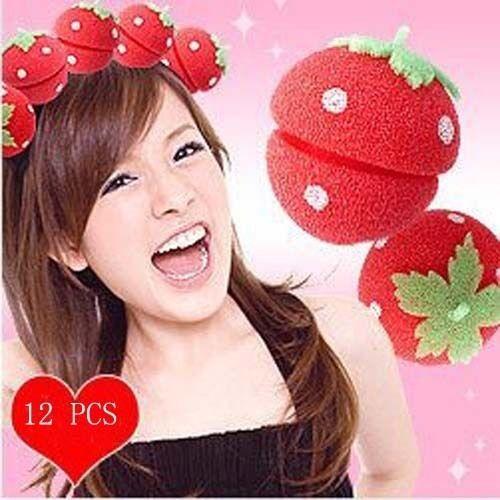 12pcs Strawberry Balls Soft Sponge Hair Curler Rollers