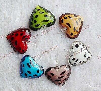 Wholesale Bulk lots 12Pcs Charms Heart Murano Lampwork Glass Beads Pendants FREE