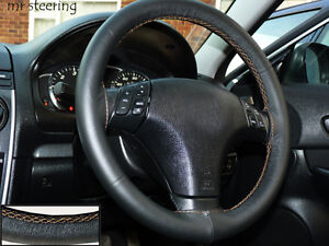 FOR-MAZDA-3-TOP-QUALITY-ITALIAN-LEATHER-STEERING-WHEEL-COVER-BEIGE-STITCHING