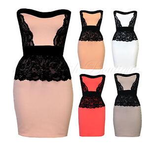 New-Womens-Lace-Trim-Peplum-Bodycon-Stretch-Tube-Party-Dress-Size-8-14