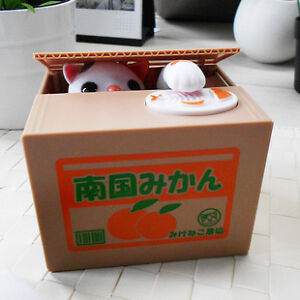 New-Itazura-Automated-Steal-Stealing-Money-Cat-Coin-Money-Saving-Box-Bank