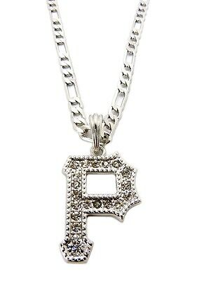 """Iced Out Pittsburgh Pirate Inspired """"P"""" Pendant 24"""" Figaro Chain Necklace MSP282"""