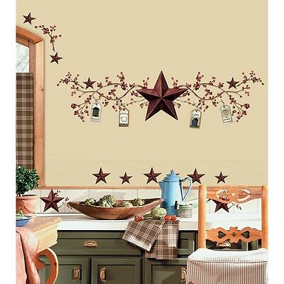 STARS and BERRIES WALL DECALS Country Kitchen Stickers Rustic Primitive Decor