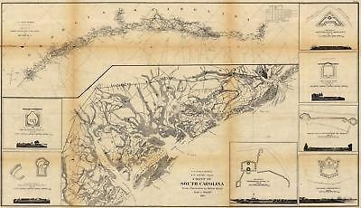 24x36 Vintage Civil War Map Coast Of South Carolina Hilton Head 1862