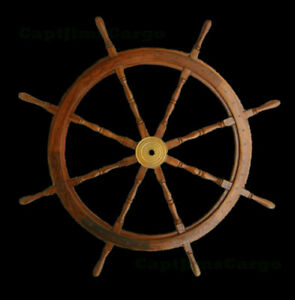 NEW-Decorative-Teak-Wood-Ships-Steering-Wheel-48-034-Boat-Helm-Nautical-Decor