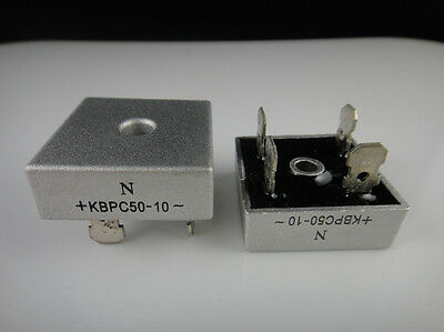 10pcs 50A 1000V Metal Case Bridge Rectifier SEP KBPC5010