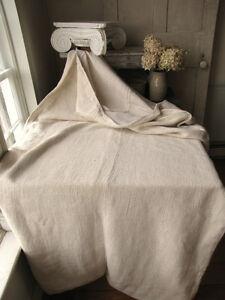 Antique-French-linen-hemp-duvet-comforter-cover-Plain-linen-Herringbone-weave