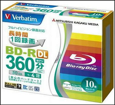 10 Verbatim 3D Bluray Disc 50 GB BD-R DL 4x, Inkjet Printable Spindle Cake.