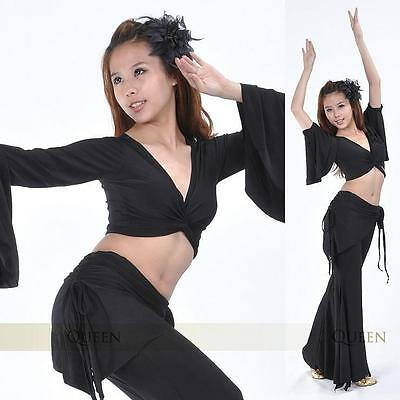 ST01# Belly Dance Costume 2pcs(Trumpet-sleeves Flared Top,Tribal Pants) 9 Colors