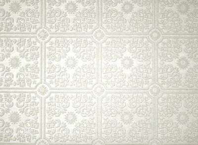 ONE DOUBLE ROLL Brewster Wallcoverings Tin Ceiling Paintable White 3D Textured