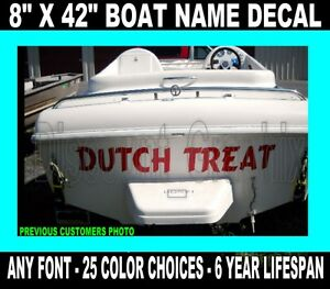 Custom transom boat name 8quot x42quot any font port of call for Boat names vinyl lettering
