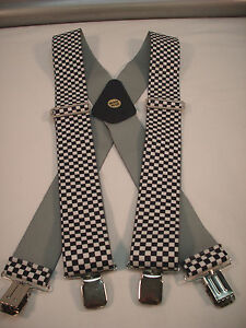 "New, Men's, Black & White Checkerboard, XL, 2"", Adj. Suspenders / Braces, USA"