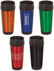 ENGRAVED-Stainless-Steel-Travel-Mug-PERSONALIZED-black-blue-red-green-orange