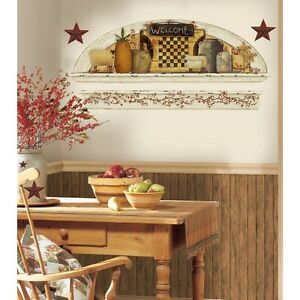 PRIMITIVE ARCH GiaNT WALL DECALS Country Kitchen Stars Berries Stickers Decor