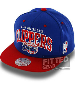 Los-Angeles-LA-CLIPPERS-ARCH-TWO-TONE-Blue-Red-NBA-Mitchell-amp-Ness-Snapback-Hats