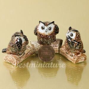 See hear speak no evil owls bird ceramic statue miniature animal figurine ebay - Hear no evil owls ceramic ...