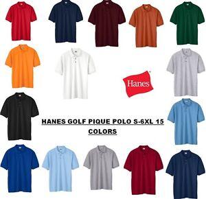 Hanes-Men-039-s-100-ComfortSoft-Cotton-Golf-Pique-Polo-Sport-Shirt-S-6XL-055-055X