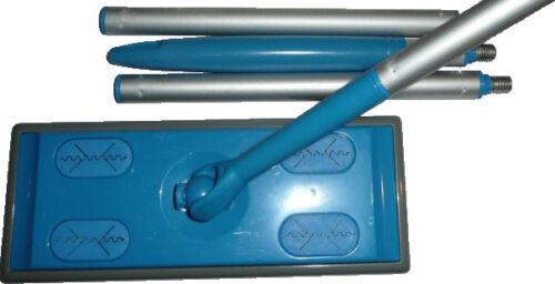 Floor-dust-push-broom-mop-sweep-cleaner-handle-8-wipes-Clean-Pad-Green-Set-Fiber
