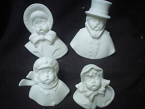 D074 - Ceramic Bisque Ornaments: 4 Victorian Family Carolers - Ready to Paint