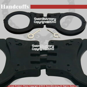 Steel-Triple-Hinged-Double-Lock-Handcuffs-W-Spare-Key