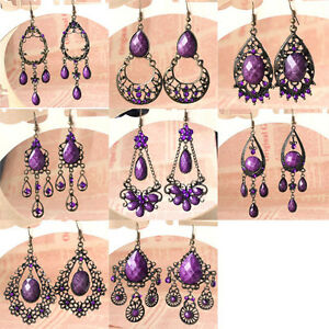 8-Style-Boho-Purple-Rhinestone-Dangle-Chandelier-Earrings-Hook-Bronze-Vintage