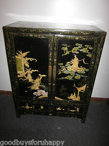 ... ANTIQUE CHINESE OLD BLACK LACQUER CABINET APPLIED CARVED
