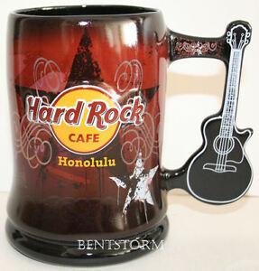 Hard-Rock-Cafe-HONOLULU-Hawaii-BEER-STEIN-MUG-Guitar-LOGO-Bar-Glass-Ware-NEW