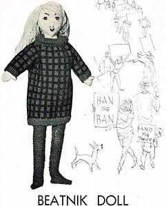 Vintage-Visage-Beatnik-doll-vintage-knitting-pattern-rare-unusual-1960s-repro