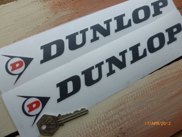 "Classic DUNLOP Cut Letters & Logo Car Stickers 10"" Pair Race Rally Bike Racing"