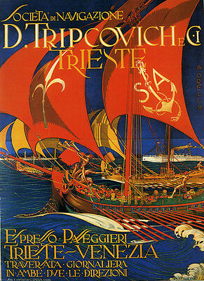 Theater Show Sailboat Trieste Venice Venezia Italy Vintage Poster Repro FREE SH